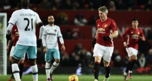 Manchester United's  Bastian Schweinsteiger in action against West Ham. Photograph: Getty Images