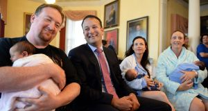 Minister for Social Protection Leo Varadkar launching an Awareness Campaign encouraging parents to apply for Paternity Benefit at the National Maternity Hospital , Holles street, Dublin. Photograph: Eric Luke / The Irish Times
