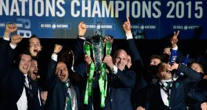 Ireland captain Paul O' Connell lifts the Six Nations trophy at Murrayfield Stadium in 2015. Photograph: Stu Forster/Getty Images