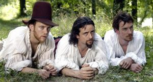 Sam Troughton as Thomas Winter, Richard Harrington as Thomas Percy and Michael Fassbender as Guy Fawkes in a scene from the BBC production, Gunpowder, Treason and Plot: James I