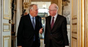 France's minister for foreign affairs Jean-Marc Ayrault and Minister for Foreign Affairs Charlie Flanagan: Mr Ayrault has thanked Mr Flanagan for making contacts with Israelis and Palestinians.
