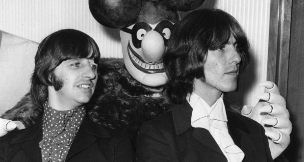 July 1968 Ringo Starr And George Harrison With A Model Of Blue Meanie