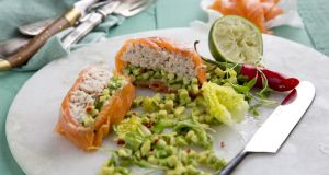 Smoked salmon terrines with avocado and crab