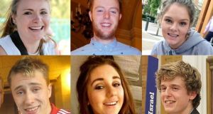The students who were killed when the balcony collapsed at the Library Gardens Apartments, in Berkeley, California (Top left to right) Ashley Donohoe, Eoghan Culligan, Olivia Burke, (Bottom left to right) Nick Schuster, Eimear Walsh, and Lorcan Miller