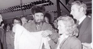 Fidel Castro  in Shannon during a stopover in 1982. Castro  left a box of  Cohiba cigars for then-taoiseach Charles Haughey.