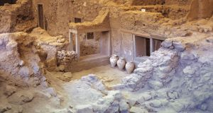 The ruins of the ancient city of Akrotiri, which was buried by a catastrophic volcano in 1650BC