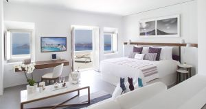 One of the luxury suites at Grace Santorini, a popular spot for honeymooners