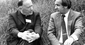 Monsignor James Horan, of Knock, and the Minister for Transport, Mr Reynolds, having a chat during the ceremony at Barnacoogne  site of the new Co Mayo airport. Photograph: Jack McManus