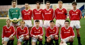 "The Manchester United youth team in 1990. Adrian Doherty is on the bottom right. Team in full: (Back row left to right) Mark Bosnich, Ryan Giggs, Darren Ferguson, Paul Sixsmith, Jason Lydiate, Sean McAuley. (Front row left to right) Mark Gordon, Craig Lawton, Lee Costa, Alan Tonge, Adrian Doherty. Forever Young is a ""sparkling gem of a book"". Photo: Getty Images"