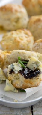 Mini blue cheese scones with fig jam