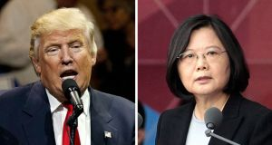 "US president-elect Donald Trump speaking during a ""USA Thank You"" tour event in Cincinatti on Thursday and  Taiwanese president Tsai Ing-wen. Trump spoke on Friday with Tsai, a move that will be sure to anger China. Photograph: AP"