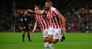 Jonathan Walters of Stoke City celebrates scoring his team's first goal against Burnley at Bet365 Stadium. Photograph: Alex Livesey/Getty Images
