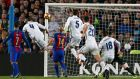 "Football Soccer - Barcelona v Real Madrid - Spanish La Liga Santander- Nou Camp Stadium, Barcelona, Spain - 3/12/16. Real Madrid's Sergio Ramos scores a goal during the ""Clasico"".    REUTERS/Albert Gea"