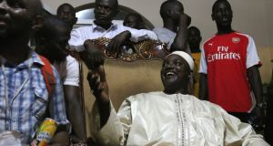 Gambian president-elect Adama Barrow at home in Brusubi. Photograph: Lorraine Mallinder