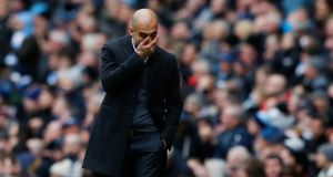 Pep Guardiola: The Manchester City manager reacts to a play during Saturday's Premier League match against Chelsea.  Photograph: Reuters/Phil Noble Livepic