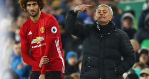 Jose Mourinho, manager of Manchester United, prepares to bring on Marouane Fellaini during their Premier League draw with Everton. Photo: Clive Brunskill/Getty Images