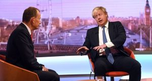 Andrew Marr  and  Boris Johnson: any continuing payments to Brussels should be limited to relatively small-scale projects, the foreign minister indicated. Photograph: Victoria Jones/PA Wire