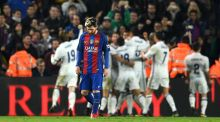 Lionel Messi of Barcelona shows his dejection after Real Madrid's equaliser during the La Liga match between  Barcelona and Real Madrid  in Barcelona. Photograph: David Ramos/Getty Images