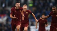 Roma's midfielder Kevin Strootman  celebrates after scoring during Serie A match against SS Lazio at the Olympic stadium in Rome. Photograph: Filippo Monteforte/AFP/Getty Images