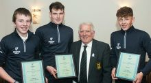 John Ferriter, chairman of Leinster Golf, with the Order of Merit winners (from left) Joseph Byrne (Baltinglass), Jake Whelan (Newlands) and John Brady (Rosslare) at the annual delegates meeting in Westmanstown Sports Centre last week. Photograph: Ronan Quinlan.