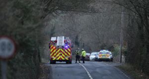 Gardaí at the scene of the crash on the N72 outside Dungarvan, Co Waterford. Photograph: Patrick Browne