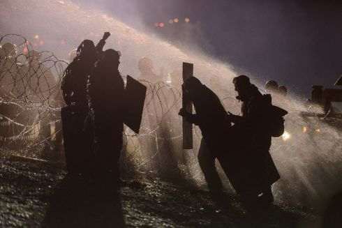 Police used a water cannon on protesters during a protest against plans to pass the Dakota Access pipeline near the Standing Rock Indian Reservation, near Cannon Ball, North Dakota, U.S. November 20th.  Photograph: Stephanie Keith/Reuters