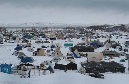 Snow covers Oceti Sakowin Camp near the Standing Rock Sioux Reservation on November 30th. Photograph: Scott Olson/Getty Images