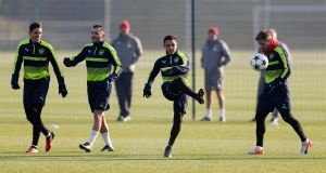 Arsenal's Gabriel Paulista, Lucas Perez, Alexis Sanchez and Nacho Monreal training before their final group game against Basel. Photograph: Reuters/Matthew Childs