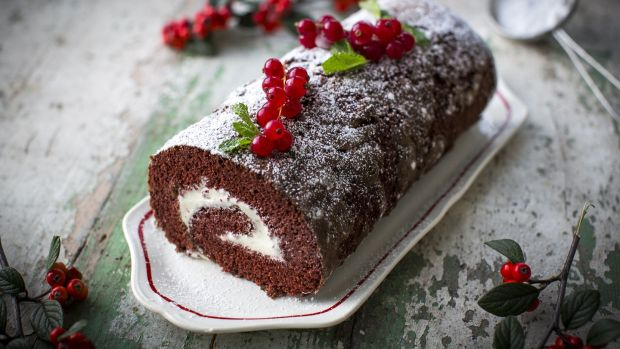 Christmas Log.Red Velvet Roulade With Redcurrants