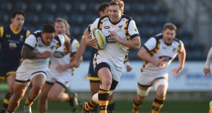 Brendan Macken scores for Wasps against Worcester last weekend. Photo: Tony Marshall/Getty Images