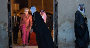 British prime minister Theresa May arrives at Riffa Fort in Manama, Bahrain,  during a three-day visit to attend the Gulf Co-operation Council summit. Photograph: Stefan Rousseau/PA Wire