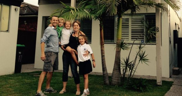 James Parnell with his wife Anne-Marie and their three children, outside their home in Sydney before they left for Ireland: 'We identified challenges in advance and planned them to oblivion.'