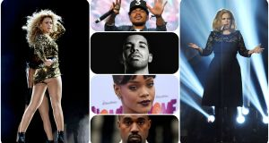 Impressive showing: Beyoncé, Chance the Rapper, Drake, Rihanna, Kanye West and Adele