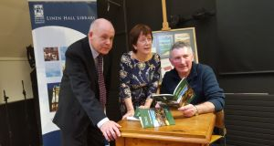 Michael McLaverty Short Story Award winner Kevin Doyle, right, with  runners-up Ciarán Folan and Sinéad Slattery