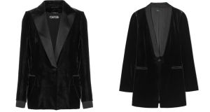 Steal v splurge: a satin-trimmed blazer for €2,650 from Tom Ford or be kind to your wallet with this  Benetton velvet jacket for €119