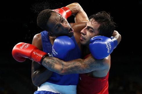 Artem Harutyunyan of Germany fights Lorenzo Sotomayor Collazo of Azerbaijan in the Men's Light Welter Semi-final at the Rio Olympic Games.  Photo: Sean M. Haffey/Getty Images