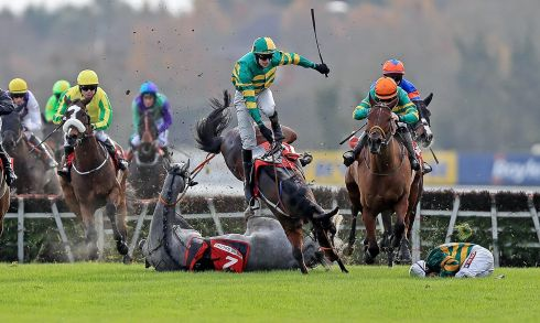 Campeador ridden by Barry Geraghty falls at the last as Sir Scorpion ridden by Mark Walsh collide with them at Fairyhouse in early December. Photograph: Donall Farmer/Inpho