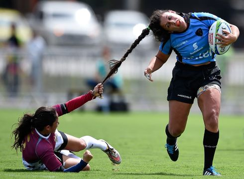 Maryoly Gamez of Venezuela battles for the ball against Victoria Rios of Uruguay during the International Womens Rugby Sevens  in March. Photo: Buda Mendes/Getty Images