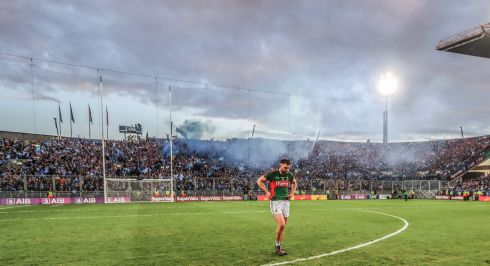 Mayo's Aidan O'Shea walks away from Hill 16 after their All-Ireland final replay defeat to Dublin. Photo: James Crombie/Inpho