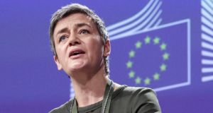 EU commissioner for competition Margrethe Vestager. The European Commission has fined the banks for participating in a cartel that set out to distort interest rate derivatives linked to  Euribor benchmark rates. Photograph: Aris Oikonomou/EPA