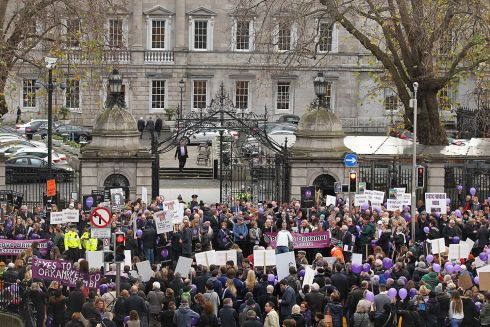 ORKAMBI: Protest in support of people with cystic fibrosis and the campaign for Orkambi drug therapy approval in Ireland at Leinster House. Photograph: Stephen Collins/Collins Photos