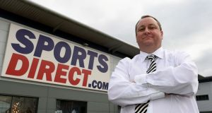 Sports Direct founder Mike Ashley. Profits at the company plunged in the first half of the year following the collapse in sterling, the retailer has said. (Photograph: Joe Giddens/PA Wire)