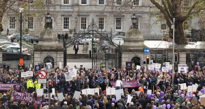 Protesters outside Leinster House calling for Orkambi to be provided to people with cystic fibrosis. Photograph: Collins