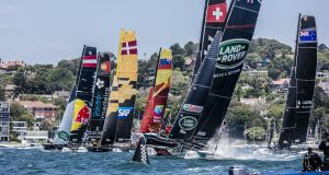 Breezy conditions  on Sydney Harbour have  made for spectacular racing for the Extreme Sailing Series. Photograph:  Jesus Renedo/Lloyd Images