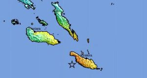 A shakemap released by the US Geological Survey  shows the epicentre (marked with a star) of a 7.8-magnitude earthquake that was detected off the coast of the Solomon Islands. Photograph: USGS/EPA