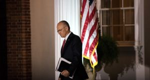 Fast-food restaurant tycoon Andrew Puzder, after a meeting, outside the clubhouse at the Trump National Golf Club Bedminster, New Jersey in November. Photograph: Hilary Swift/The New York Times