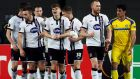 Dundalk players celebrate their goal against  Maccabi Tel Aviv v Dundalk at the  Netanya Stadium, Netanya, Israel. Photograph: Nir Elias/Reuters