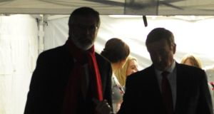 Enda Kenny with Gerry Adams at the switching on of Christmas lights at Leinster House. File photograph: Aidan Crawley
