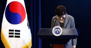 South Korean president Park Geun-Hye bows during an address to the nation on 29th November 2016. Photograph:  Jeon Heon-Kyun/EPA