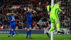 Andy King reacts after Sunderland goalkeeper Jordan Pickford made a last-minute save to deny Leicester City a draw last weekend. – Photograph: Stu Forster/Getty Images.